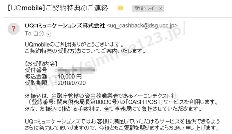 UQモバイルから届くキャッシュバック受取手続きのメール画像