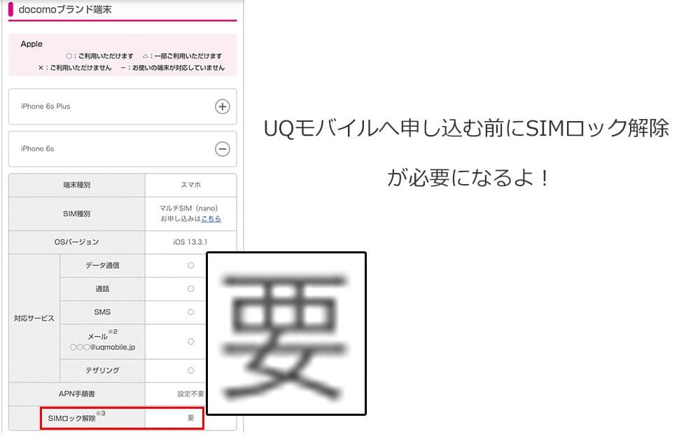 UQモバイルの動作確認でドコモ版iPhone6sを調べた結果の画像